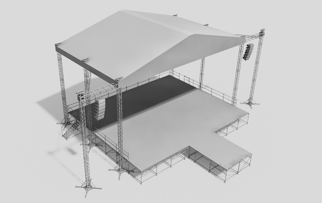 Stage system with the ST roof