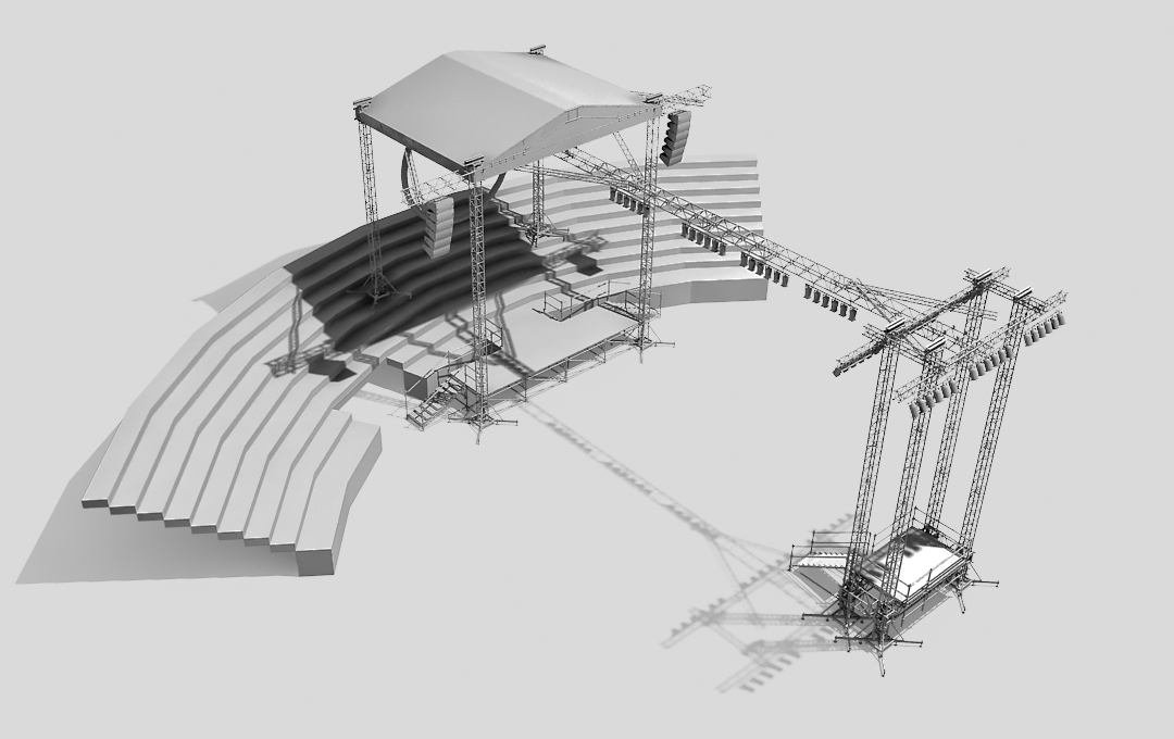 Stage system with the extension into the audience