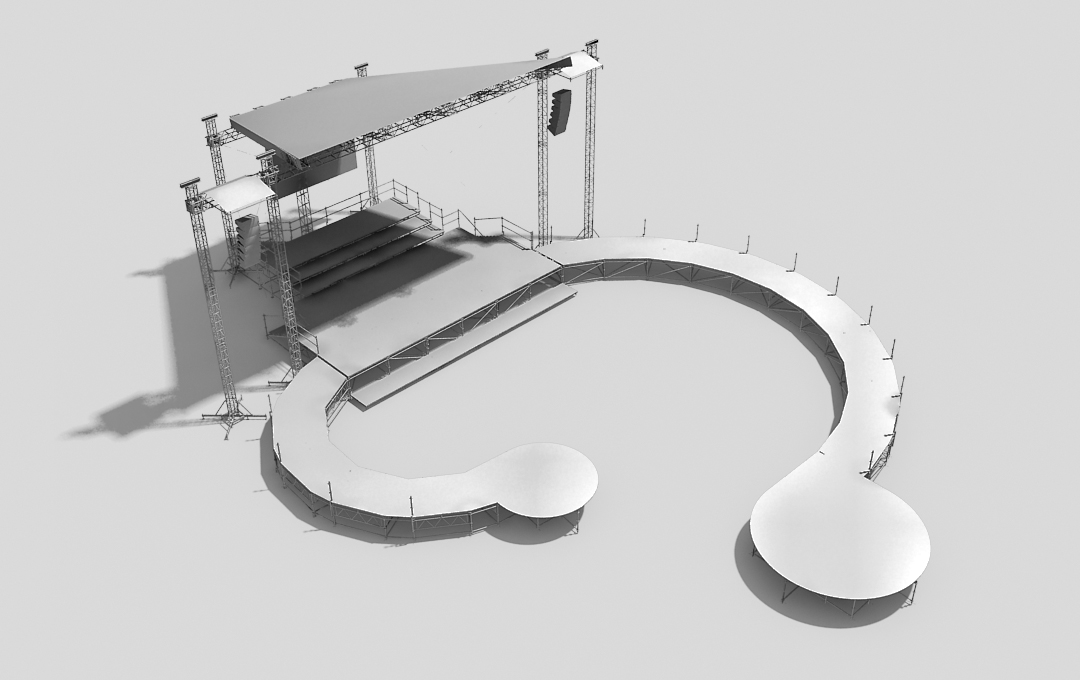 Stage system with trapezoidal roof and a catwalk