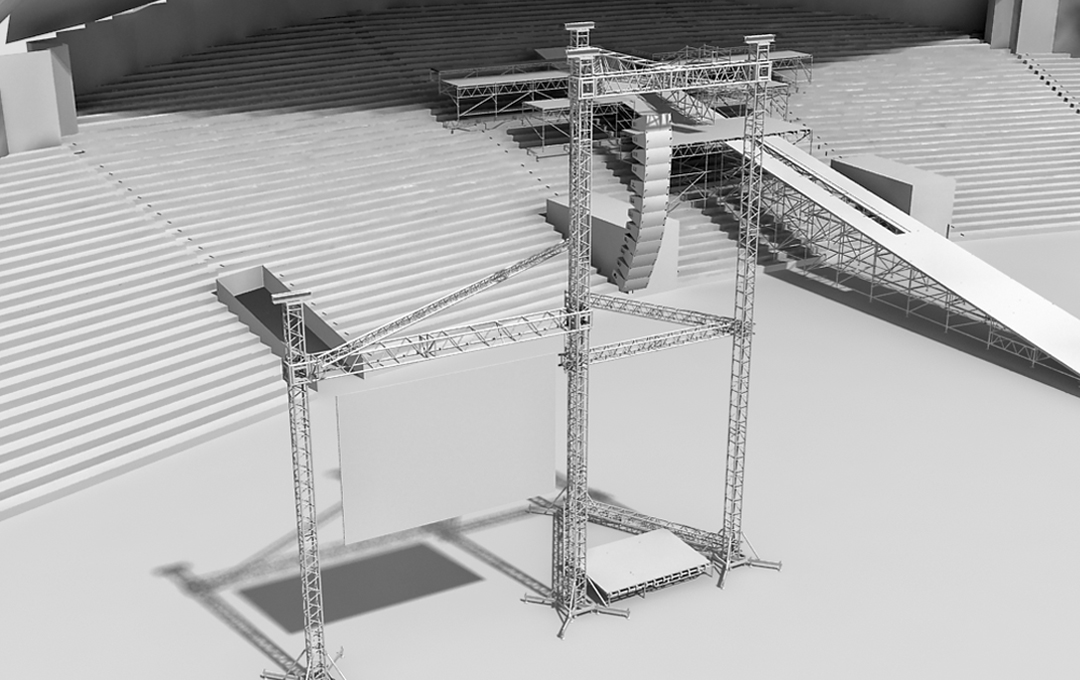 Frame with platform for LED screen and sound system