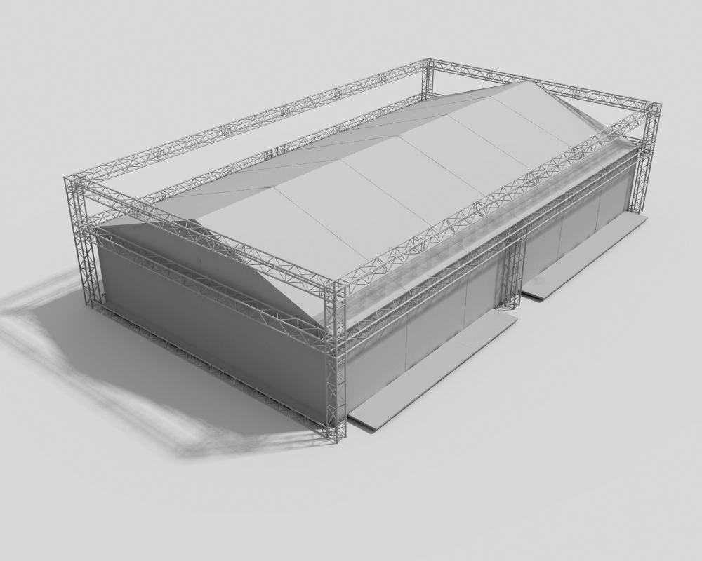 Paviljonas su aliuminio konstrukcijomis reklamai