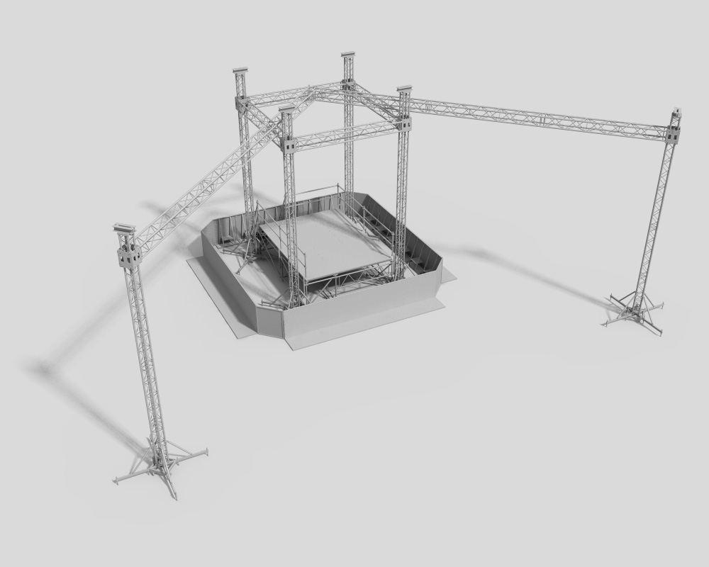 Stage with trusses for lighting and sound system