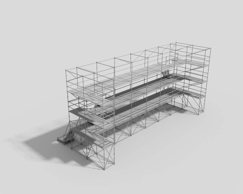 Trijų lygmenų žiūrovų tribūna su laiptais