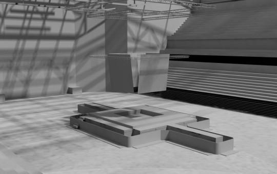 Nestandartinė scena montuojama salės viduryje